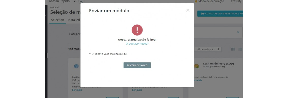 Prestashop erro ao instalar módulo: 1G is not a valid maximum size